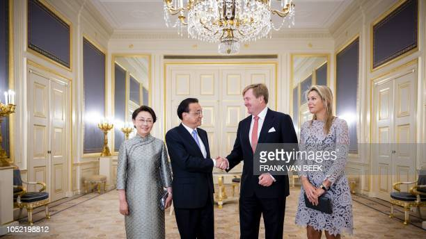 Dutch King WillemAlexander and Queen Maxima are holding an audience with the Chinese prime minister Li Keqiang and his wife Cheng Hong in Noordeinde...