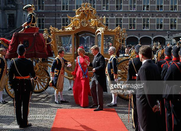 Dutch King WillemAlexander and Queen Maxima arrive at the Ridderzaal where the King will address the Dutch Senate and House of Representatives in the...