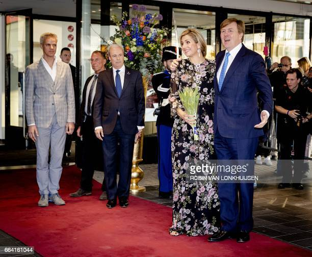 Dutch King WillemAlexander and Queen Maxima arrive for the King's Day concert at Theaters Tilburg in Tilburg on April 3 2017 The concert is being...
