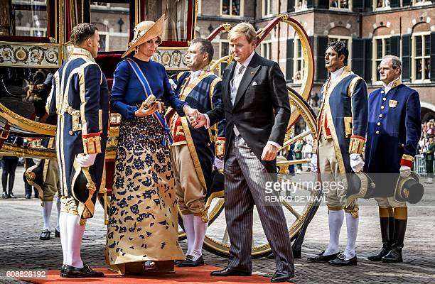 Dutch King WillemAlexander and Queen Maxima arrive in the Glass Carriage at the Binnenhof in The Hague on Prinsjesdag on September 20 2016 Prince's...
