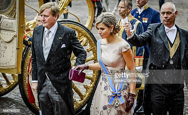 Dutch King WillemAlexander and Queen Maxima arrive in the Golden Carriage at the Binnenhof in The Hague The Netherlands on September 15 on...