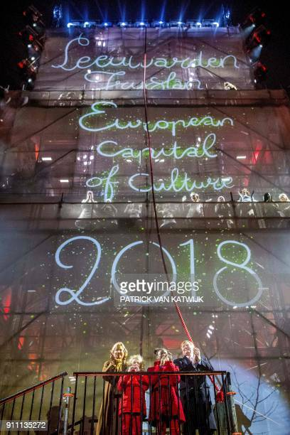 Dutch King WillemAlexander and Queen Maxima attend celebrations during the opening weekend as Leeuwarden as European Capital of Culture 2018 in...