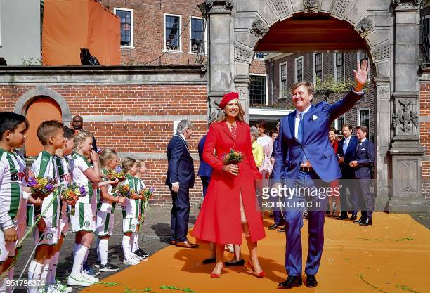 Dutch king WillemAlexander and Queen Maxima attends the King's Day in Groningen on April 27 2018 King WillemAlexander celebrated his 51th birthday...