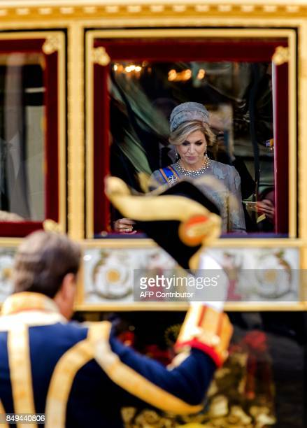 Dutch King WillemAlexander and Queen maxima depart in the Glass Carriage from the Palace Noordeinde during 'Prinsjesdag' in The Hague on September 19...