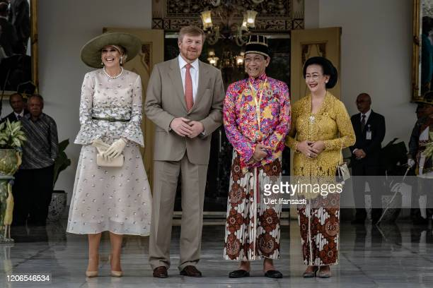 Dutch King Willem-Alexander and Queen Maxima meet with Sri Sultan Hamengkubuwono X and his wife Gusti Kangjeng Ratu Hemas during visit at Kraton...