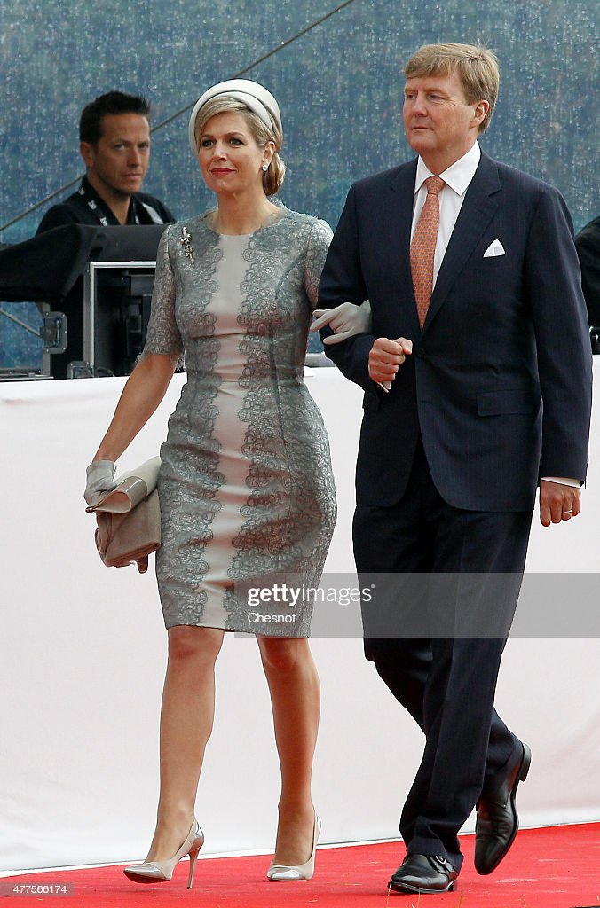 Dutch King Willem-Alexander and Queen Maxima of the Netherlands arrive for the Belgian federal government ceremony to commemorate the bicentenary of the Battle of Waterloo on June 18, 2015 in Waterloo, Belgium. The ceremony is at the start of three days of official events marking the 200th anniversary of the Battle of Waterloo during which around 5000 historical re-enactors from around the world will take part in events culminating in a re-enactment of the allied defeat of Napoleon's army on June 20th. The 1815 battle saw the overthrow of Napoleon Bonaparte and the restoration of Louis XVIII to the French throne.