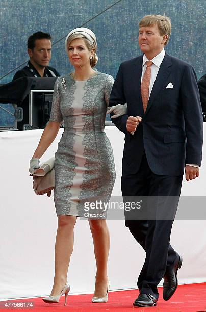 Dutch King WillemAlexander and Queen Maxima of the Netherlands arrive for the Belgian federal government ceremony to commemorate the bicentenary of...