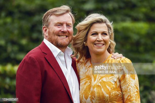 Dutch King Willem-Alexander and Queen Maxima pose for the summer photo session at Huis ten Bosch Palace in The Hague on July 16, 2021. - Netherlands...