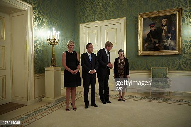 Dutch King Willem-Alexander and Queen Maxima receive United Nations Secretary General Ban Ki-moon and his wife for a dinner at the palace Noordeinde...