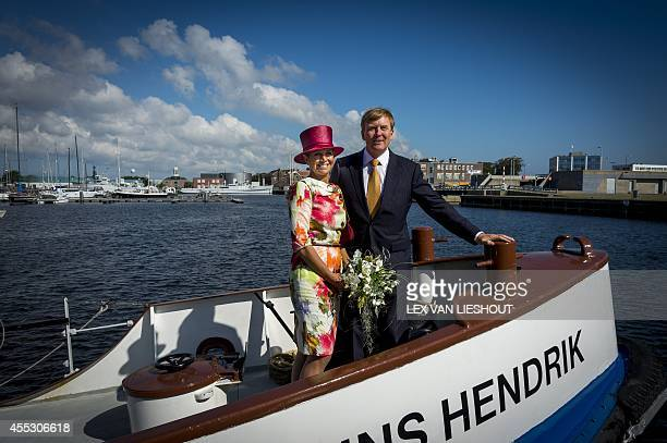 Dutch King WillemAlexander and Queen Maxima sail on the lifeboat Prins Hendrik during a region visit to the province NoordHolland in Den Oever The...