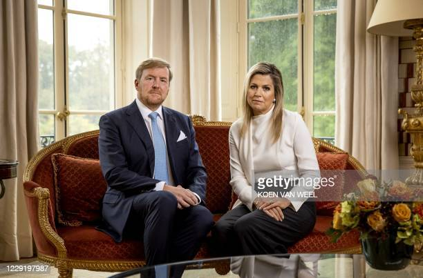 Dutch King Willem-Alexander and Queen Maxima take part in the recording of a personal video message in which the king discusses the cancellation of...