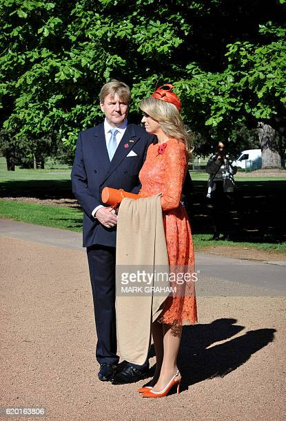 Dutch King WillemAlexander and Queen Maxima visit the Australian War Memorial in Canberra on November 2 2016 The Dutch royals are in Australia to...