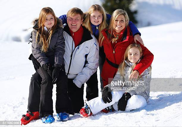 Dutch King WillemAlexander Argentine born Dutch Queen Maxima Princess CatharinaAmalia Princess Alexia Princess Ariane of The Netherlands pose at a...