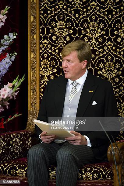 Dutch King WillemAlexander delivers a speech from the throne in the Ridderzaal during the 'Prinsjesdag' in The Hague on September 20 2016 Prince's...