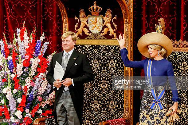 Dutch King WillemAlexander delivers a speech from the throne next to Queen Maxima in the Ridderzaal during the 'Prinsjesdag' in The Hague on...