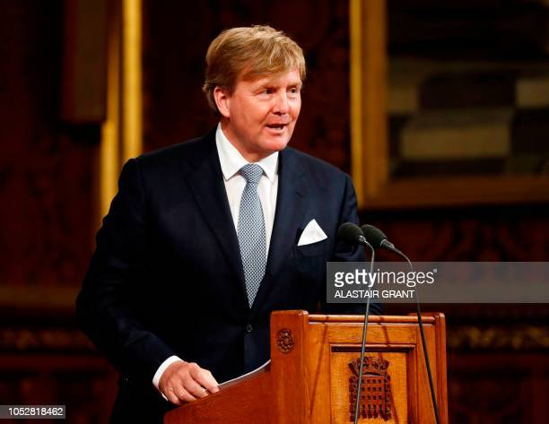 Dutch King Willem-Alexander gives a speech to parliamentarians and other guests in the Royal Gallery at the Palace of Westminster in central London...
