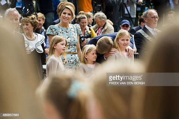 Dutch King Willem-Alexander, his wife Queen Maxima and their daughters Princesses Amalia , Alexia and Ariane attend the King's Day celebrations in...