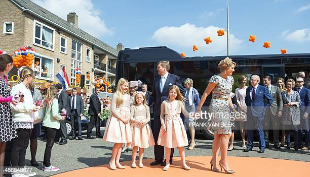 Dutch King WillemAlexander his wife Queen Maxima Princess Beatrix and their daughters Princesses Amalia Alexia and Ariane stand together in...