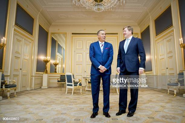Dutch King WillemAlexander meets with Trinidad and Tobago President Anthony Carmona at th Noordeinde Palace in The Hague tThe Netherlands on January...
