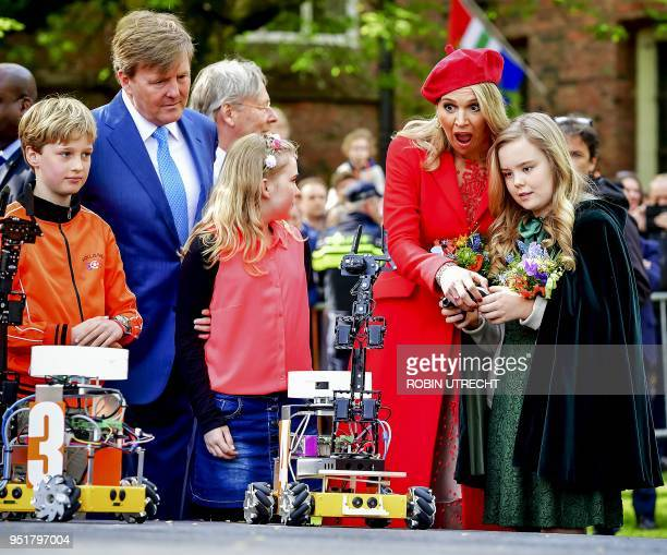 Dutch king WillemAlexander Queen Maxima and princess Ariane attend the King's Day in Groningen on April 27 2018 King WillemAlexander celebrated his...
