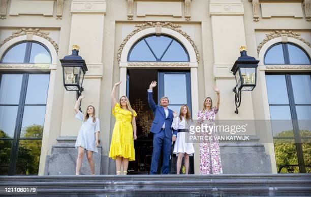 Dutch King Willem-Alexander, Queen Maxima and their daughters, princesses Amalia, Alexia and Ariane celebrate King's Day in Huis ten Bosch Palace in...