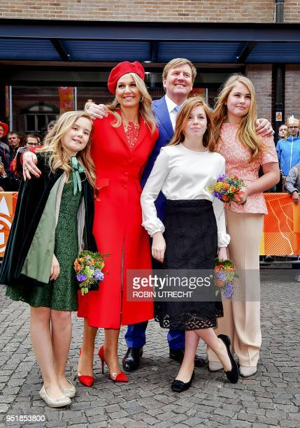 Dutch king Willem-Alexander, Queen Maxima Princess Alexia, Ariane and Amalia attend the traditional King's Day, the celebration of the birthday of...