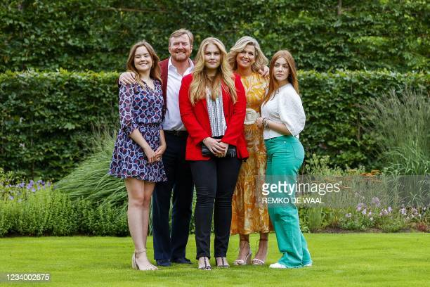 Dutch King Willem-Alexander , Queen Maxima , Princess Amalia , Princess Alexia and Princess Ariane pose during the summer photo session at Huis ten...