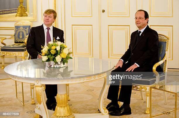 Dutch King Willem-Alexander receives President of France, François Hollande at Palace Noordeinde, in The Hague, the Netherlands, on January 20, 2014....