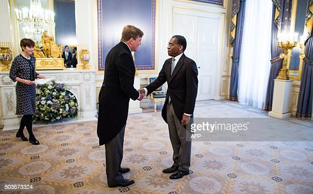 Dutch King Willem-Alexander receives the credentials from newly-appointed Haitian Ambassador to the Netherlands Antonio Rodrigue at Noordeinde Palace...