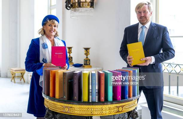 Dutch King Willem-Alexander receives the fully translated correspondence of Desiderius Erasmus at Noordeinde Palace from publisher Exler-Donker in...