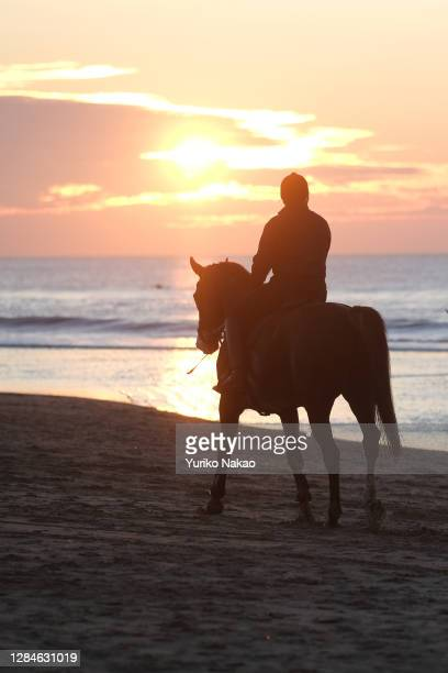 Dutch King Willem-Alexander riding a horse along the sea shore is silhouetted as the sun sets on November 6, 2020 in Katwijk, Netherlands.