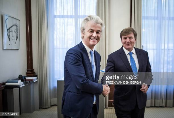 Dutch King WillemAlexander welcomes PVV party leader Geert Wilders at the Noordeinde Palace in The Hague on November 22 2017 After the installation...