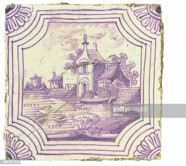 Dutch landscape tile with fourline octagonal border and quarter flower head corners c 173090 from the 19922001 excavations at the Merrill Lynch...