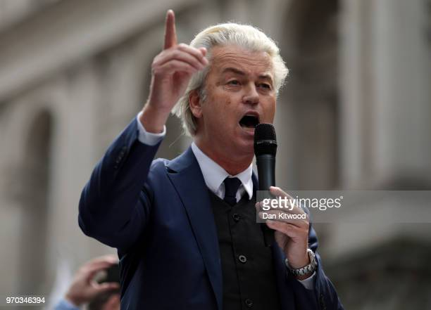 Dutch Leader of the Opposition Geert Wilders of nationalist Party for Freedom speaks during a 'Free Tommy Robinson' Protest on Whitehall on June 9...