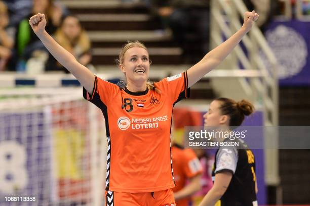 Dutch left back Kelly Dulfer jubilates during the preliminary tour of the group C of the Euro 2018 Championship handball match Spain vs Netherlands...