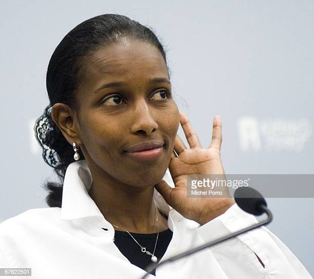 Dutch Liberal MP and former Somalian refugee Ayaan Hirsi Ali appears at the press conference to announce her resignation from parliament on May 16,...