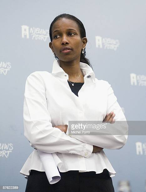 Dutch Liberal MP and former Somalian refugee Ayaan Hirsi Ali arrives at the press conference to announce her resignation from parliament on May 16,...