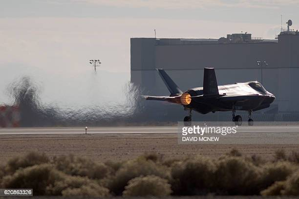 A Dutch Lockheed Martin F35 Lightning II fighter jet takes off at Edwards Air Force Base California on November 24 2015 The Lockheed Martin F35...