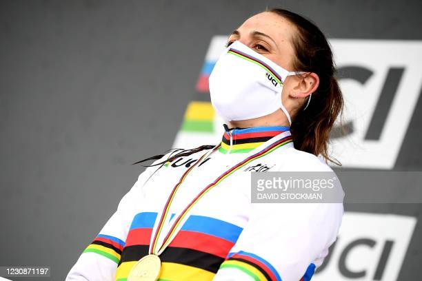 Dutch Lucinda Brand, winner of the gold medal celebrates on the podium after winning the women elite race at the UCI Cyclocross World Championships,...