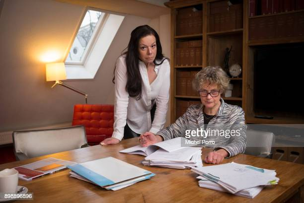 Dutch lung cancer patient Anne Marie van Veen and her criminal lawyer Benedicte Ficq work on documents in preparation of the first ever criminal case...