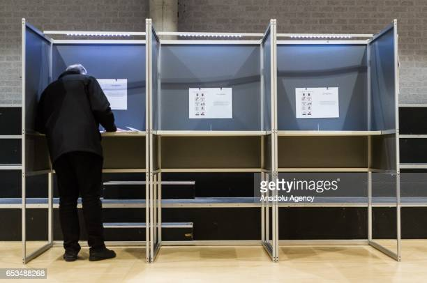 Dutch man votes for the second Chamber elections in the Amsterdam Bijlmer Arena Stadium in Amsterdam Netherlands on March 15 2017