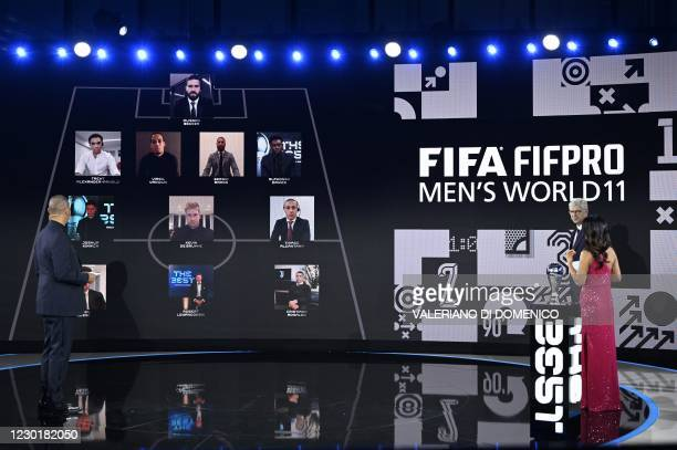 Dutch manager and former player Ruud Gullit, French coach Arsene Wenger and British sports journalist Reshmin Chowdhury present The FIFA FIFPro Mens...