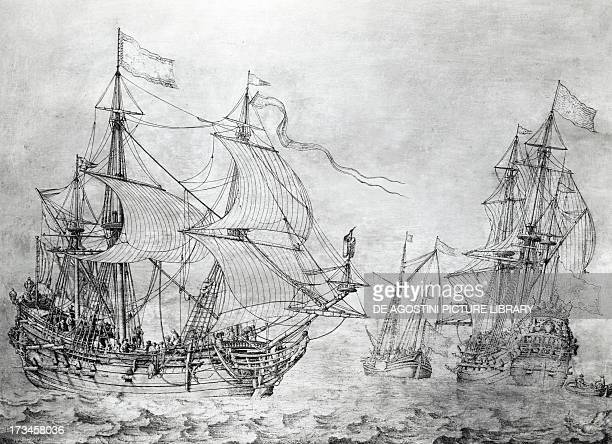 Dutch merchant ships engraving by Willem Van De Welde the Younger The Netherlands 17th century