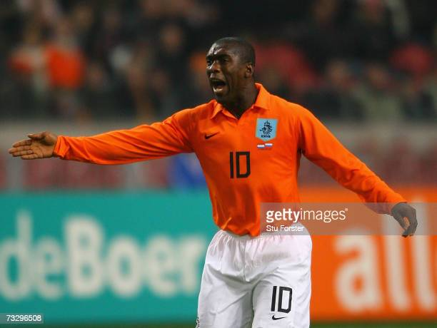 Dutch midfielder Clarence Seedorf makes a point during the International friendly match between Netherlands and Russia at the Amsterdam Arena on...