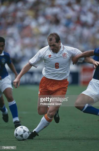 Dutch midfielder Jan Wouters pictured preparing to shoot during play in the 1994 FIFA World Cup quarter-final match between Netherlands and Brazil at...
