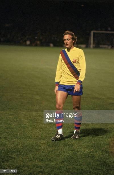 Dutch midfielder Johan Neeskens playing for Spanish club FC Barcelona late 1970s
