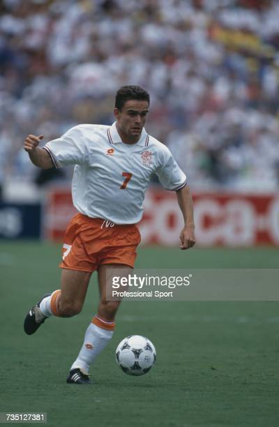 Dutch midfielder Marc Overmars pictured making a run with the ball during play in the 1994 FIFA World Cup quarterfinal match between Netherlands and...