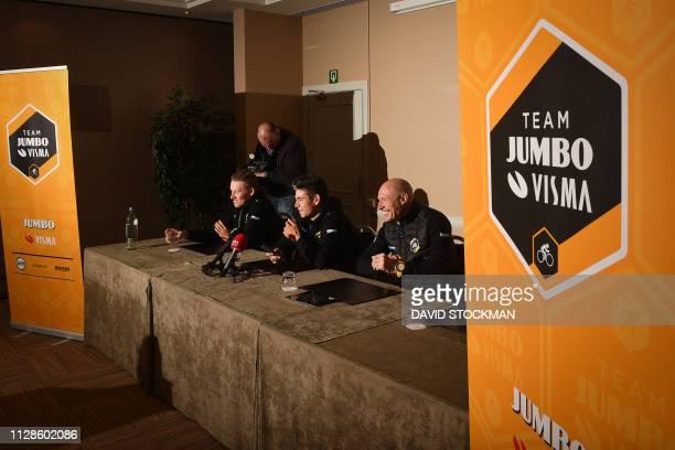 Dutch Mike Teunissen of Team Jumbo-Visma, Belgian Wout Van Aert of Team Jumbo-Visma and Team Jumbo-Visma sports director Nico Verhoeven pictured...