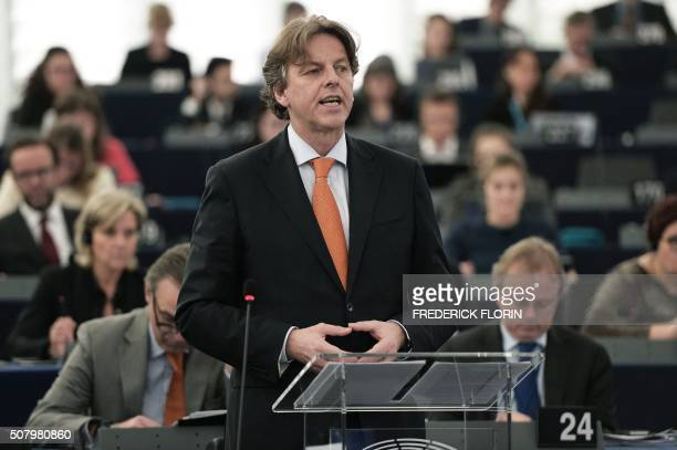 Dutch Minister for Foreign Affairs Bert Koenders speaks during a debate on migration at the European Parliament in Strasbourg eastern France on...