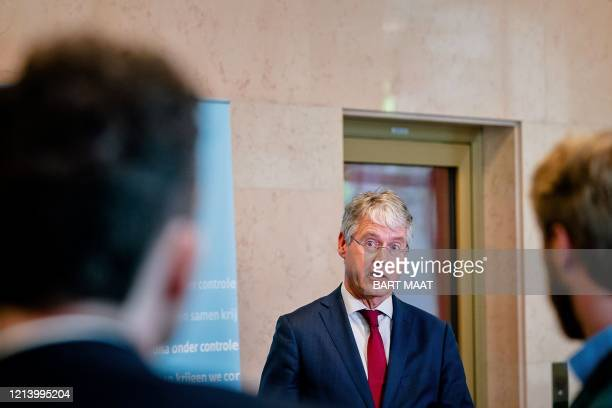 Dutch Minister for Primary and Secondary Education and Media Arie Slob speaks to the press at the Ministry of Security and Justice prior to a meeting...